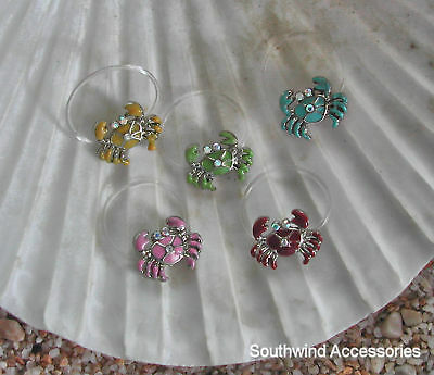 Crab Toe Ring On Stretch Illusion Band Your Choice In Color Of Enamel Rare