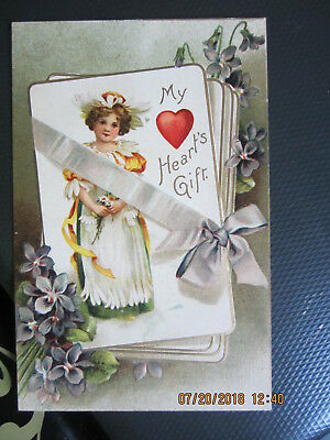 vintage VALENTINE postcard DAISY GIRL on DECK of PLAYING CARDS VIOLETS HEART use