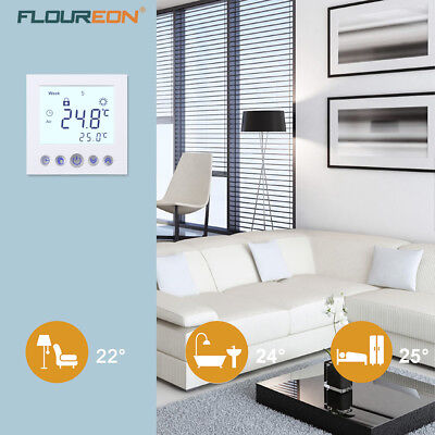 RLOUREON C16.GH3 16A LCD Display Heizung Thermostat White Temperature Controller