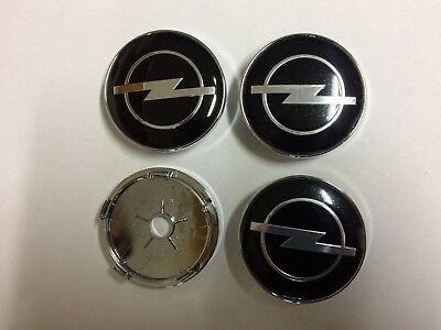 Opel Vauxhall Wheel Alloy Center Caps Set Of 4, Hub Centre Cap Badges Black 60mm
