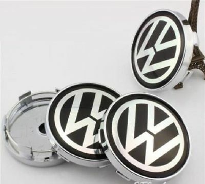 VW Volkswagen Golf Wheel Alloy Center Caps Set Of 4 , Hub Centre Cap Black 60mm