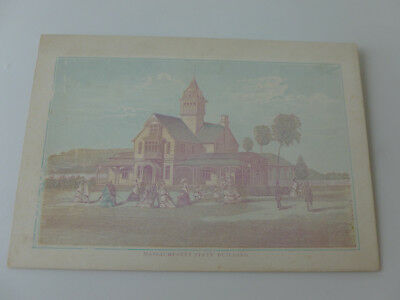 "1876 Philadelphia Exposition Color Litho Card of MASS. State Bldg. (6"" x 4"")"