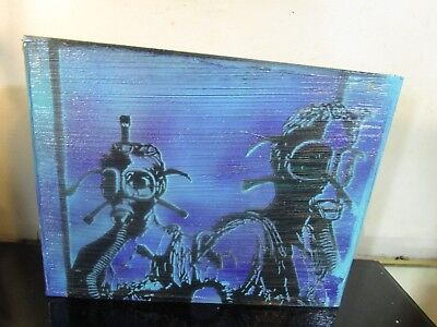 original authentic abstract 1 of a kind WOOD canvas~ painting by musk yai 8x10 ~