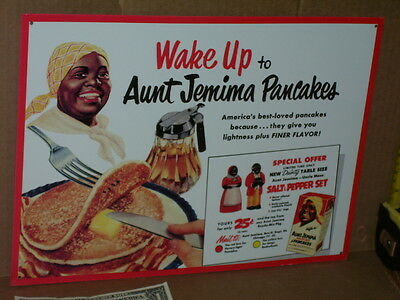 AUNT JEMIMA - PANCAKE BOX - BIG Sign -Shows Old Set of F&F Salt & Pepper Shakers