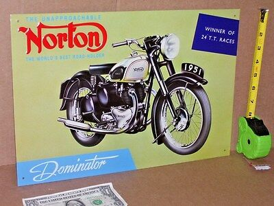 NORTON Dominator -OLD SIGN Dated1993 SHOW BIKE DETAILS-Brought back from England