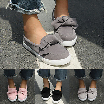 Womens Bowknot Round Toe Flat Shoes Slip On Loafers Casual Sneakers Fashion New