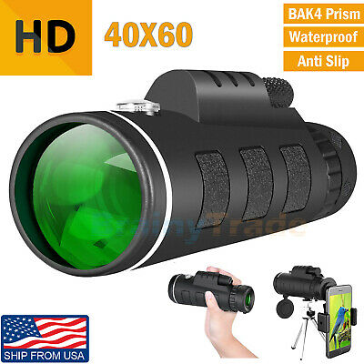 40X60 Zoom Optical HD Monocular Telescope + Tripod + Clip for Outdoor Hunting