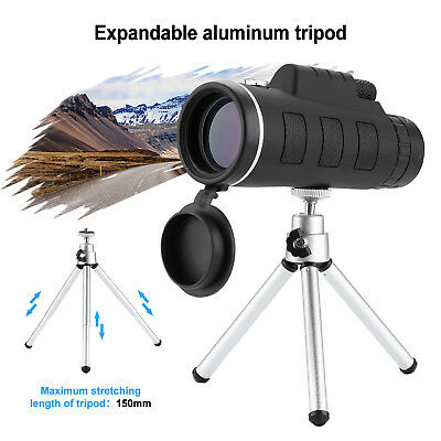 40X60 Zoom Optical HD Night Vision Monocular Telescope + Tripod + Clip for phone