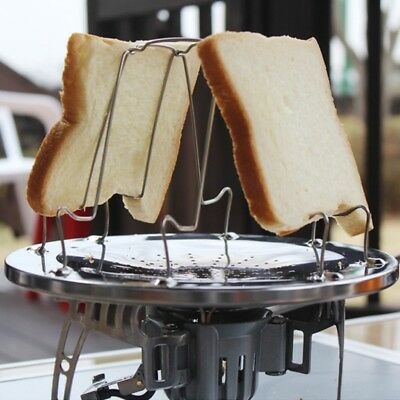 4 Slice Foldable Stainless Steel Bread Toaster Tray Rack Camp Stove Cooking Hot