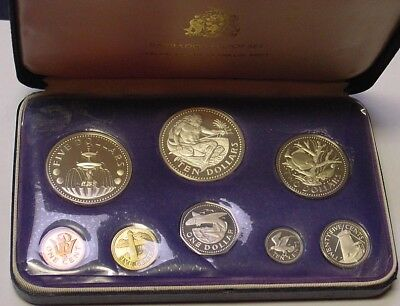 BARBADOS 1974 Proof set includes $5 and $10 silver coins.