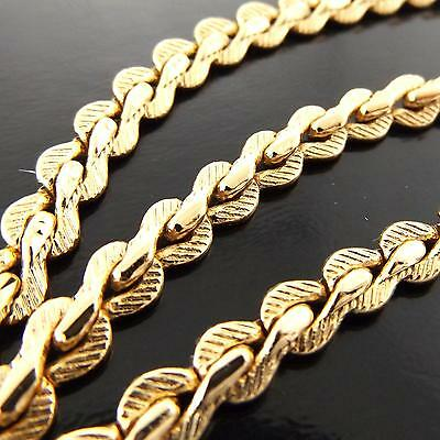 Necklace Chain Genuine Real 18K Yellow G/f Gold Solid Filigree Antique Design