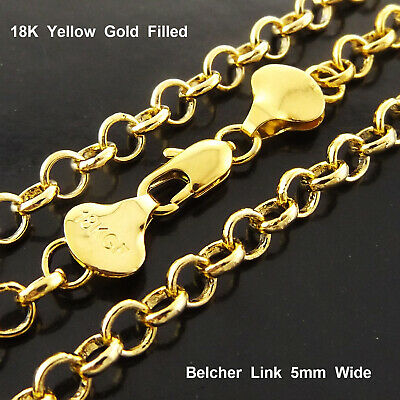 """Necklace Pendant Chain 18k Yellow G/F Gold Ladies Solid Antique Belcher Link 22"""""""