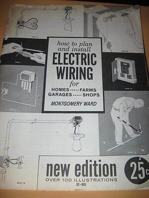 Vintage HOW TO PLAN INSTALL ELECTRIC WIRING Montgomery Ward booklet book manual