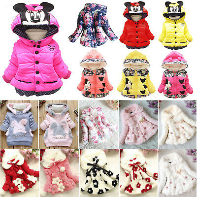 Toddler Kids Baby Girls Winter Fur Coat Jacket Warm Snowsuit Thick Tops Outwear