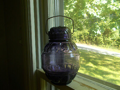 1890 Amethyst Moon Pattern Candy Jar W/original Glass Lid & Carrying Handle
