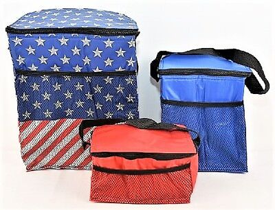 3 Piece Cooler Bag Set in Red, US Flag Theme Design - Lunch Bags
