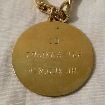 RARE old Vicksburg MS Trainmaster Railroad Train Employee Watch Fob & Chain