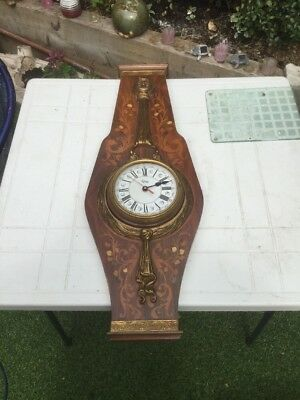 Vintage Inlaid And Guilt Metal Banjo Clock Free Uk P&P Enamelled Face