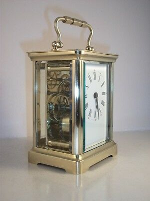 Classic antique brass carriage clock & key. Cleaned and serviced in July 2018.