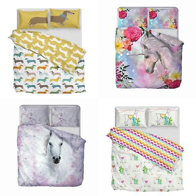 Unicorns Cute Animals Duvet Covers Bright Printed Easy Care Quilt Sets Bedding
