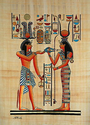 """Egyptian Papyrus - Hand Made - 12"""" x 16"""" Hathor Presenting Necklace to Ramses"""