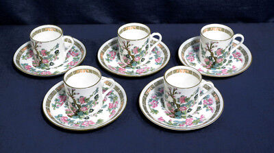 5 Vintage Hammersley Bone China Indian Tree Demitasse Cup and + Saucer Sets