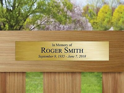 Outdoor Memorial Custom Plaque Plastic Engraved In Memory of Plate Bench Tag Urn