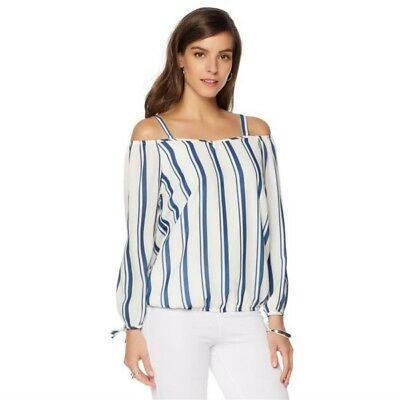 035af00fb1506 Colleen Lopez White Blue Stripe Nautilux Natical Cold Shoulder Top L NEW  533-840