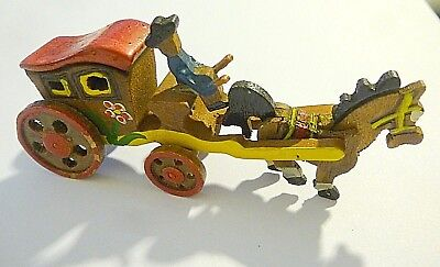 Vintage Antique Erzgebirge Miniature Wood Toy Handmade Putz Wagon Driver Horse