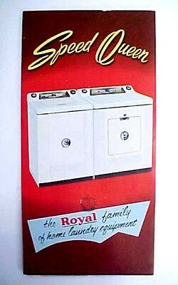 Vintage 1955 SPEED QUEEN Washer & Dryer Fold-Out Brochure / New Old STock