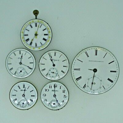 Lot of Five Antique Movements and 18s Dial Parts Steampunk