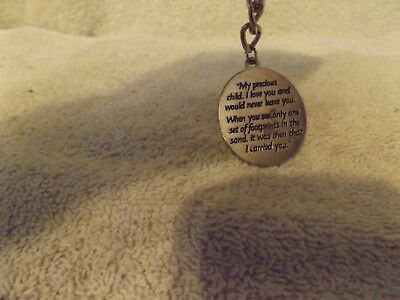 """Vintage Jewelry--""""foot Prints"""" Pendant Key Ring--4"""" Tall-Very Nice--Great Patina"""