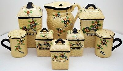 Hotta Yu Shoten Japanese Hand Painted Set 2748 CHERRY BLOSSOM Pitcher Spice Jar