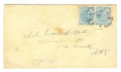 Confederate States of America Sc#7-cut at bottom(pair)-STAUNTON(Augusta County)V