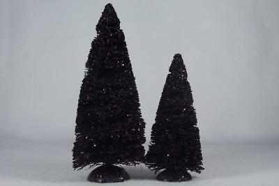 Dept 56 Village Accessory 'Purple Glitter Sisal Trees' Set of 2 #809455 NIB!