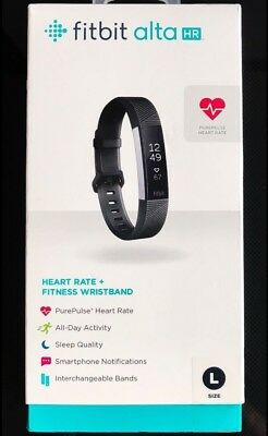 Fitbit Alta HR Fitness Activity Tracker Large Black FB408SBKL