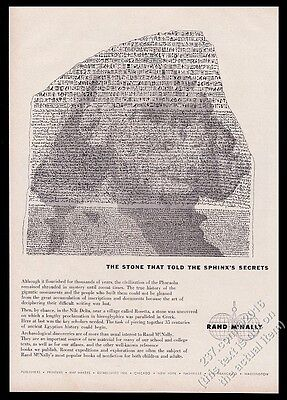 1959 Sphinx and Rosetta Stone art Rand McNally vintage print ad