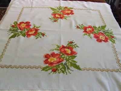 Hand Embroidered Tablecloth with Large Floral Cross Stitch Pattern 90 x 88 cm