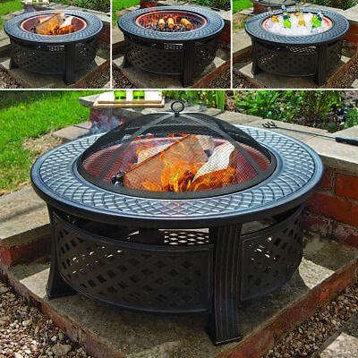 Copper Round Steel Garden Patio Firepit Outdoor Chimenea Bowl Fire Pit Bbq Wido