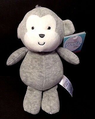 NWT Carters Precious Firsts Gray Grey Monkey Plush Stuffed Baby Toy Rattle 66839