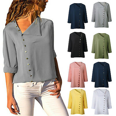 Womens Stylish Casual Solid Blouse Ladies Long Sleeve Shirts Summer Tee Tops New
