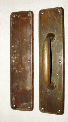 """Vintage Brass Push & Pull Plates for Single Swing Wood Doors 3"""" x 12"""" x 2 1/4"""""""