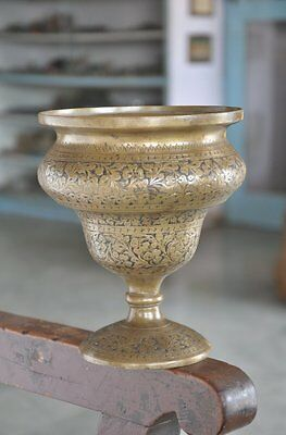 Old Brass Unique Shape Inlay Engraved Handcrafted Flower Vase / Pot