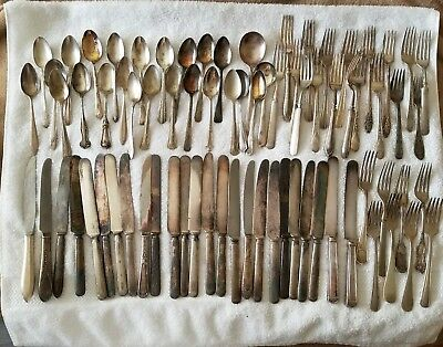 75 Pc. Silverplate Flatware For Crafting Jewelry Spoons Forks Knives 25 of Each!