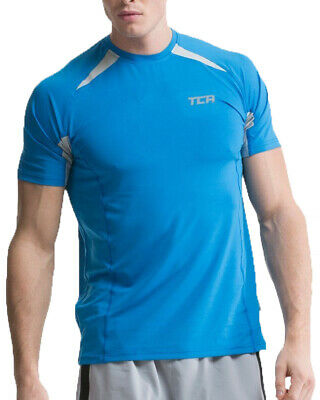 TCA Mens Short Sleeve Running Top Gym Training Sports T-Shirt - Blue