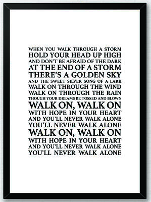 You'll Never Walk Alone Gerry & the Pacemakers A3 Lyrics Song Print Poster YNWA