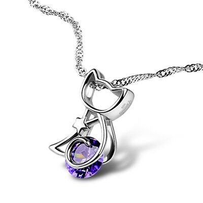 """Cute Cat Pendant Wave Chain Necklace 8mm Amethyst 925 Sterling Silver 16"""" 17"""" 18"""