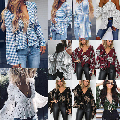 Womens Casual V Neck Blouse Flare Sleeve Loose Shirts Boho Floral Crop Tops AU