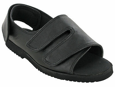 Womens Orthopedic Shoes Extra Wide Leather Open Sandals Black Slippers UK 5-7