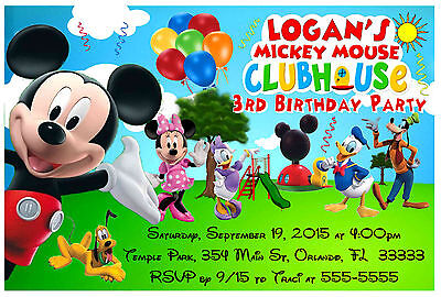 Mickey Mouse Clubhouse Birthday Party Invitations Park Design